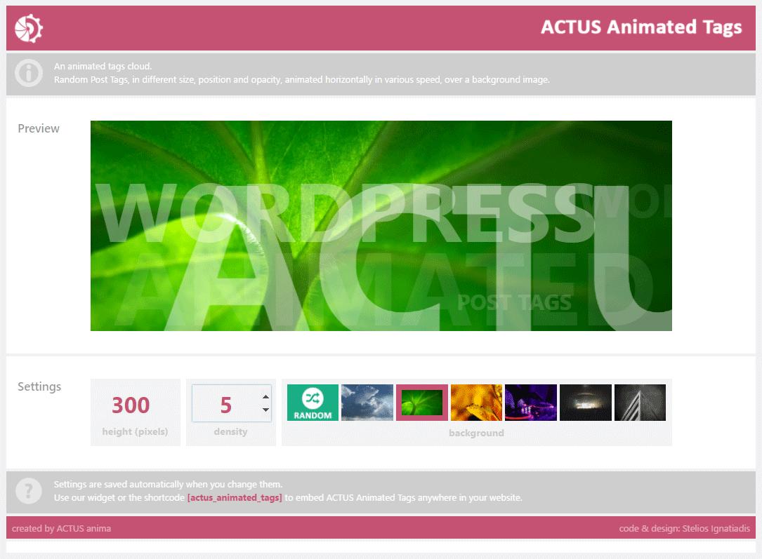 ACTUS Animated Tags – ACTUS WordPress Plugins